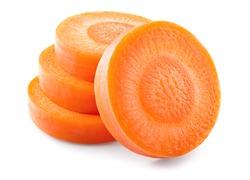 Carrot slice. Carrots. Carrot slices isolated on white. Full depth of field.