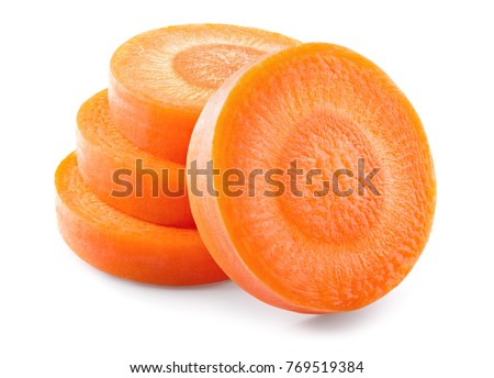 Carrot slice. Carrots. Carrot slices isolated on white. Full depth of field.