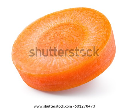 Carrot slice. Perfectly retouched carrot slice isolated on white. Full depth of field.