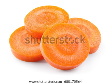 Carrot slice. Perfectly retouched carrot slices isolated on white. Full depth of field. With clipping path #680170564