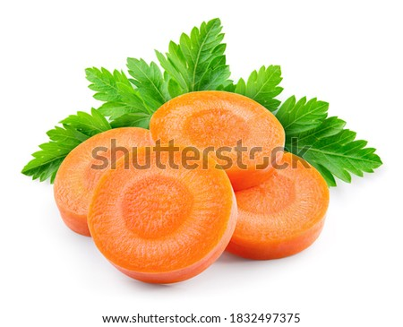 Carrot slices. Carrot slice, parsley isolate. Vegetable with herbs. Carrots, parsley on white background.