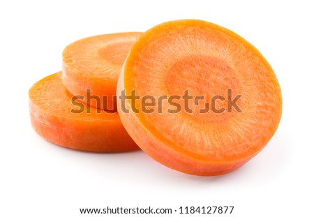 Carrot slices. Carrots. Carrot slices isolated on white. Full depth of field.
