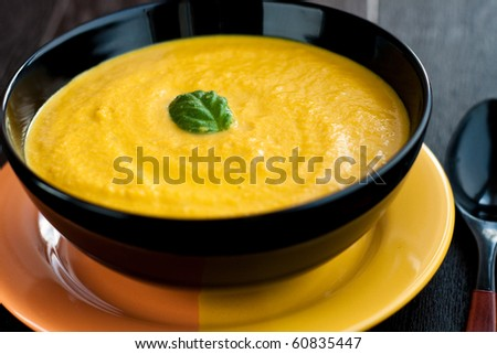 Carrot soup with basil