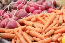 Carrots and radishes on display for sale. Organic vegetables at farmers market.
