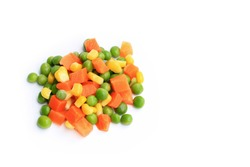 Carrots, corn, peas isolated on white background. This has clipping path.