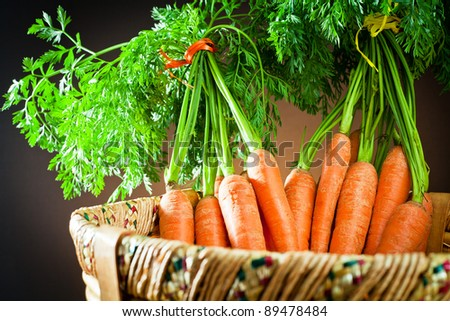 carrots  in wooden basket