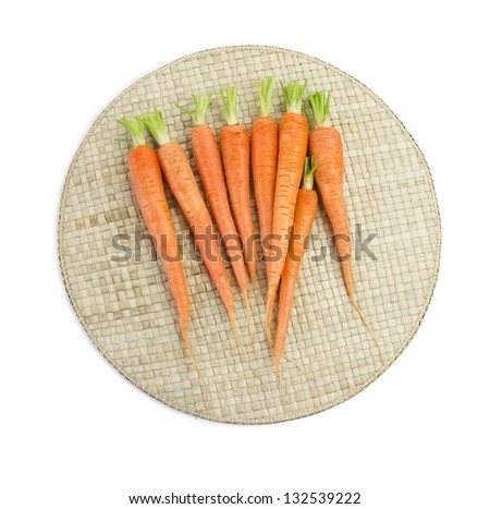 carrots on mat, clipping path included