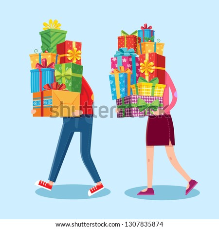 Carry gifts stack. Carrying christmas stacked presents in man and woman funny character hands. Heavy carry wrapping gift pile, Xmas giving present greeting card  cartoon illustration