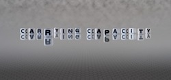 carrying capacity concept represented by black and white letter cubes on a grey horizon background stretching to infinity