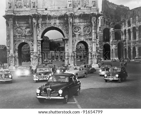 cars and ancient monuments rome ...
