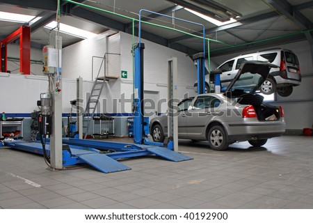 cars at modern car service