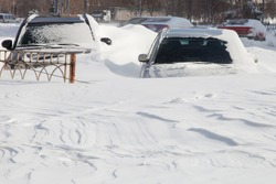 Cars covered in snow after a blizzard