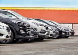 Cars For Sale Stock Lot Row. Car Dealer Inventory