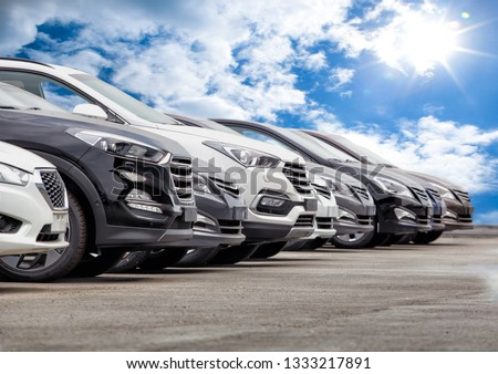 Cars For Sale Stock Lot Row. Car Dealer Inventory #1333217891