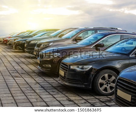 Cars For Sale Stock Lot Row. Car Dealer Inventory #1501863695