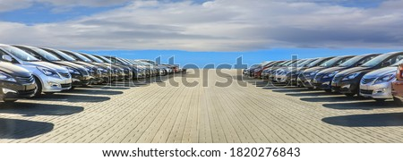 Cars For Sale Stock Lot Row. Car Dealer Inventory Stockfoto ©