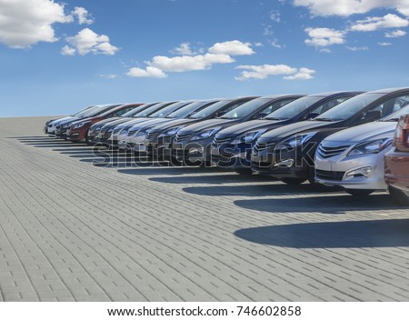 Cars For Sale Stock Lot Row. Car Dealer Inventory #746602858