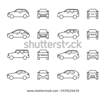 Cars front and side view line signs, auto symbols. Vehicle outline icons isolated on white background. Auto vehicle car, illustration of automobile transport