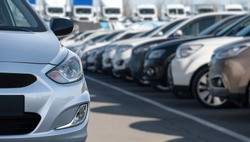 Cars in a rows. Used car sales