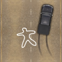 Cars in an accident, Aerial view over the road