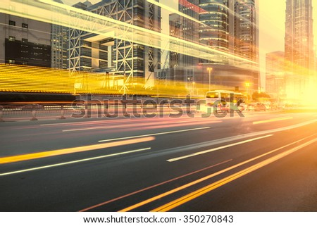 cars in highway with blur motion #350270843