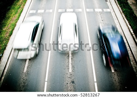 Cars in motion blur on a street of Wroclaw - city with the biggest traffic jams in Europe