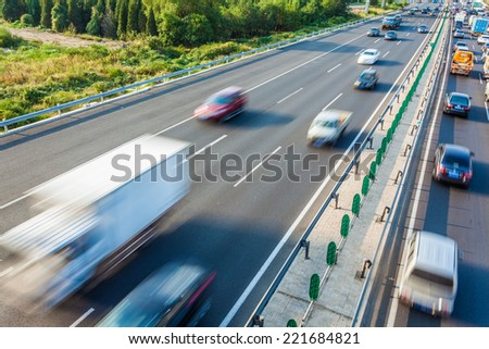 Cars in motion blur on highway,Beijing China #221684821