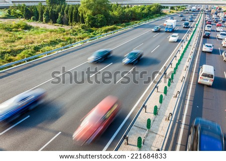 Cars in motion blur on highway,Beijing China #221684833