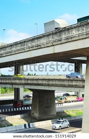 Cars on a urban flyover in Bangkok, Thailand