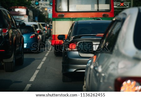Cars on highway in traffic jam #1136262455