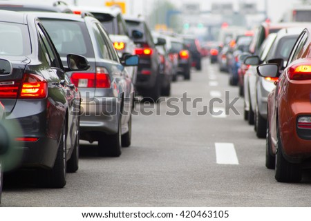 Cars on highway in traffic jam #420463105