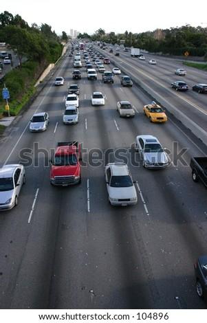 Cars on Los Angeles freeway