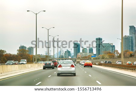 Cars On Road In City, Toronto, Canada stock photo