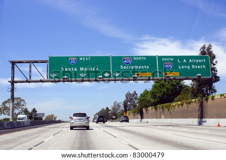 Cars on road in Los Angeles