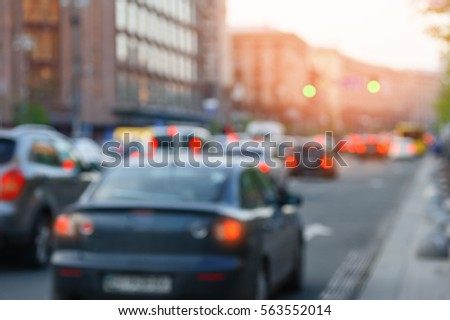 cars on the street with lights blurred focus #563552014