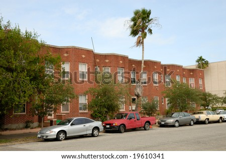 Cars parked in front of a house, Corpus Christi, Texas USA