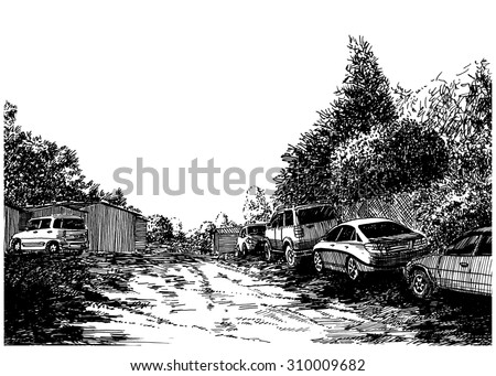 Cars parking near the suburban road. Black and white dashed style sketch, line art, drawing with pen and ink. Western classical trend of book illustration and comic art. Retro vintage picture.