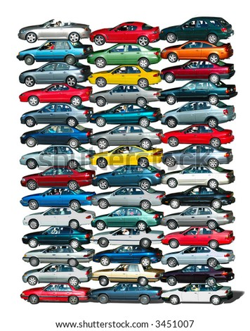 Cars piled up in white background