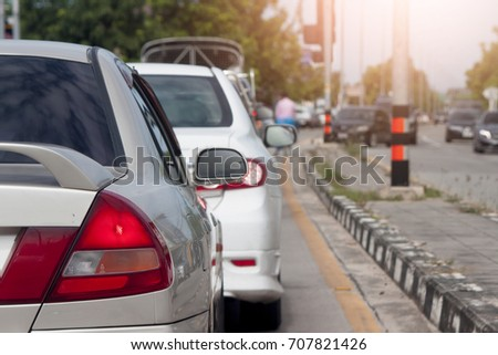 Cars stop on the road by traffic jam for heading towards the goal of the trip. #707821426