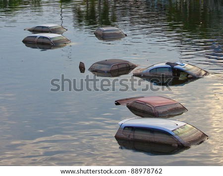 Cars swamped by Flood water