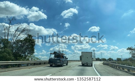 Cars traveling on the 210 freeway to 605 freeway interchange in Los Angeles, CA #1352587112