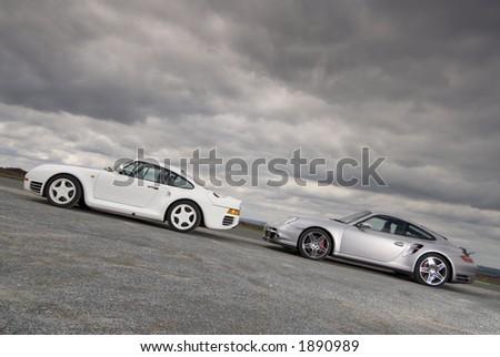 Cars under a stormy sky