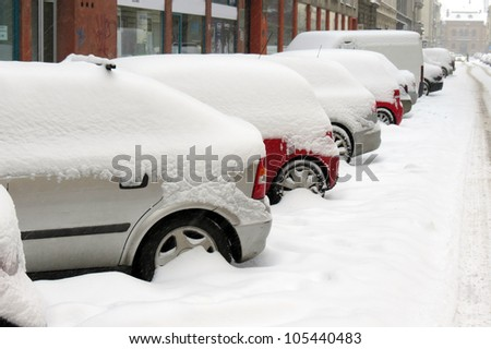 Cars under snow in Zagreb