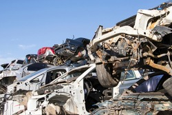 cars waiting to be recycle in junk yard in Turkey, Ankara - car cemetery - auto graveyard