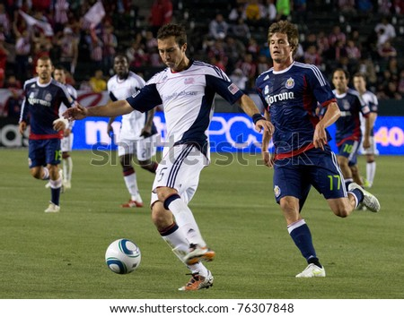 CARSON, CA. - APR 30:  A.J. Soares (L) & Justin Braun (R) during the Chivas USA vs. New England Revolution match on April 30, 2011 at the Home Depot Center in Carson, Ca.