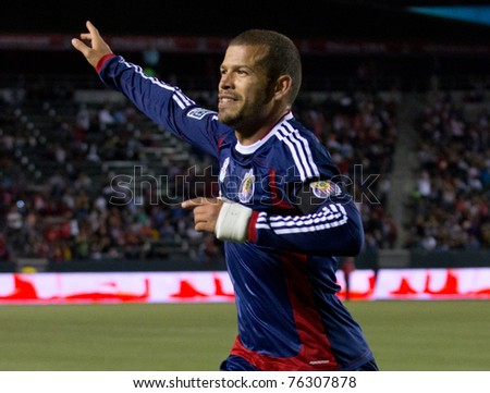 CARSON, CA. - APR 30:  Alejandro Moreno celebrates a goal during the Chivas USA vs. New England Revolution match on April 30, 2011 at the Home Depot Center in Carson, Ca.