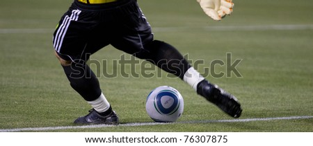 CARSON, CA. - APR 30:  Dan Kennedy goal kick during the Chivas USA vs. New England Revolution match on April 30, 2011 at the Home Depot Center in Carson, Ca. - stock photo
