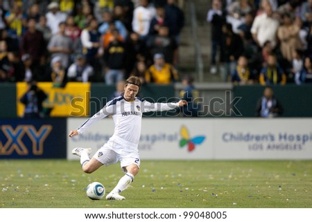 CARSON, CA. - APRIL 23: Los Angeles Galaxy M David Beckham #23 during the MLS game between the Portland Timbers & the Los Angeles Galaxy on April 23, 2011 at the Home Depot Center.