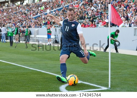 CARSON, CA. - FEB 01: USA M Brad Davis #11 in action during the U.S. mens national team soccer friendly against Korea Republic on Feb 1st 2014 at the StubHub Center in Carson, Ca.