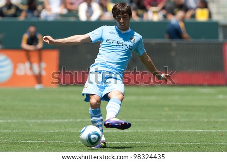 CARSON, CA. - July 24: Manchester City FC M David Silva #21 in action during the World Football Challenge game on July 24 2011 at the Home Depot Center in Carson, Ca.